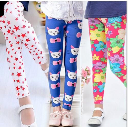 fashion girl pant printing Flower children pants for spring autumn summer kids leggings skinny girls leggings