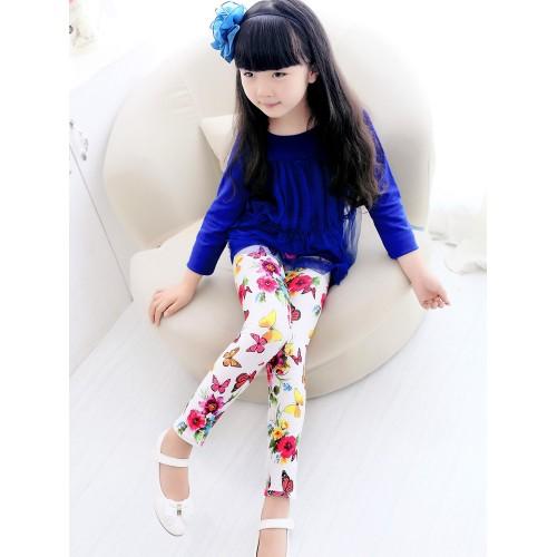 girl pant printing Flower girls leggings kids leggings skinny trousers children pants