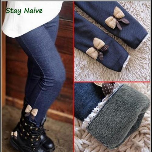 kids girls jean bow pants cotton cashmere pants elastic waist girls legging warm pants