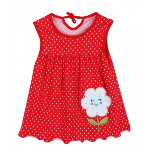 Red Cute Baby Girl Sleeveless Flowers Printed Frock