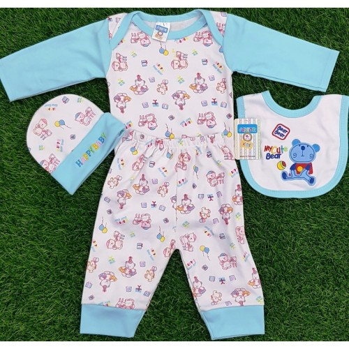 4PCS Sets New born Infant Babies Clothes Cartoon Printed High Quality