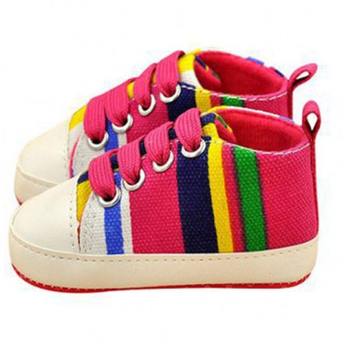 Pink New Born Baby Soft Sole Cotton Sneakers Laces Crib Shoes