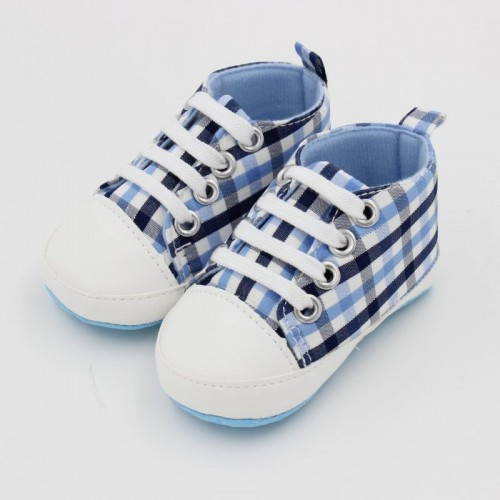 Blue checks Baby Fashion Canvas Shoes Soft Prewalkers Casual Toddler Shoes
