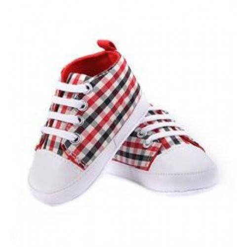 Red Checks Baby Fashion Canvas Shoes Soft Prewalkers Casual Toddler Shoes