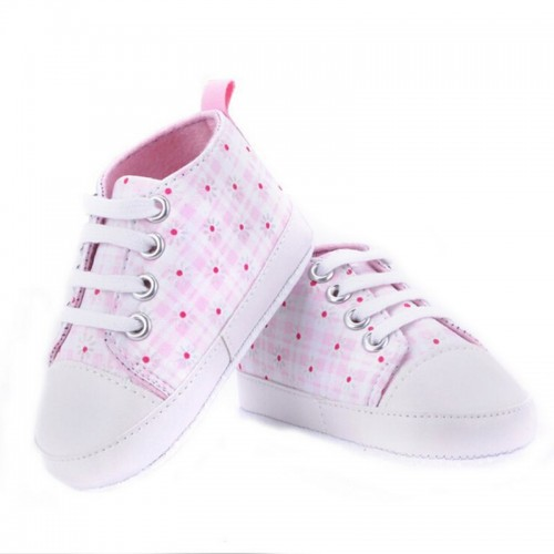 Pink Checks Baby Fashion Canvas Shoes Soft Prewalkers Casual Toddler Shoes
