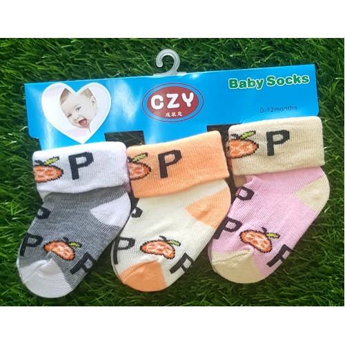 Set Of Three Cotton Cute Boys Girls Baby Socks Cartoon Soft Baby Sock Anti-Slip High Quality