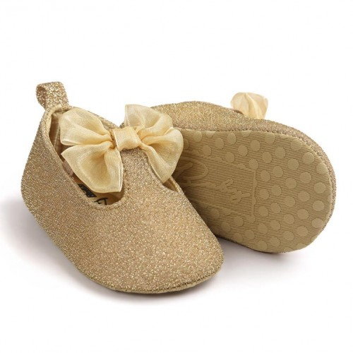 Baby Girl Bowknot Leater Shoes Sneaker Anti slip Soft Sole Toddlerr
