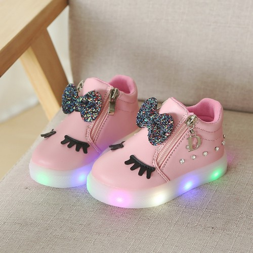 New summer Hook Loop summer baby casual shoes LED recharged USB lighting up baby girls