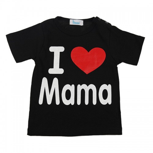 I Love Mama Baby Boys Girls Cotton Short Sleeve T-Shirt