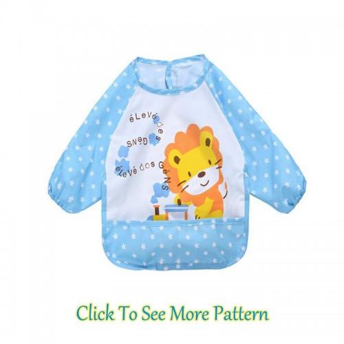 Blue Lovely Baby Kids Printed Infant Long Sleeve Anti Wear Waterproof Feeding Bibs