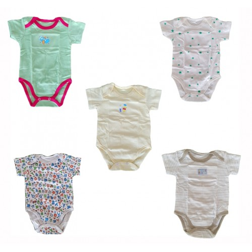 Pack Of Five Short Sleeve 100% Cotton Body Suit For Baby Boy HIgh Quality