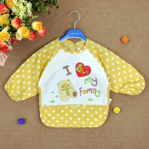 Yellow Lovely Baby Kids I Love My Family Printed Infant Long Sleeve Waterproof Feeding Bibs