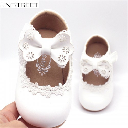 Baby Girls Shoes Leather Solid infant Kids Shoes Lace Bowknot Princess Children Shoes For Toddler
