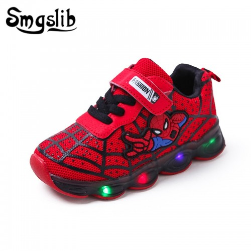 Boys Sneaker Girls Spiderman Kids Led Shoes With Lights Sneaker Spring Autumn Shoes Children Toddler
