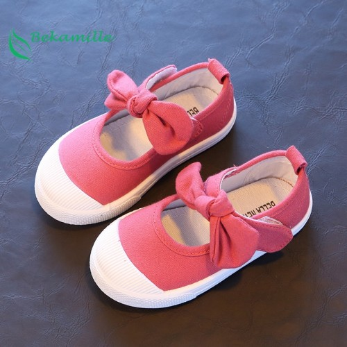 Children Canvas Casual Shoes Kids Lovely Bow Flat Heels Shoes Girls Princess Solid