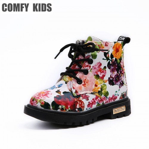 Comfy Kids Shoes Floral Martin Boots for Girls Botas Elegant Flower Print PU Leather Shoes Child