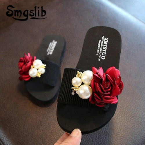 Girls Slippers Kids Beach Fashion Bowknot Casual Sandals Summer Comfortable Women Home Shoes Children Flower