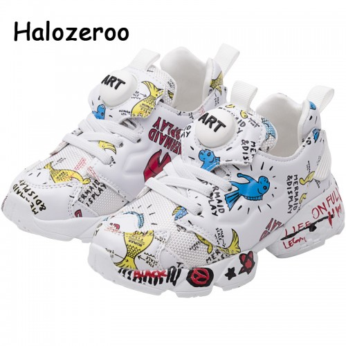 New Kids Pu Leather Shoes Baby Girls Sport Sneakers Children Mesh Shoes Boys Fashion Casual