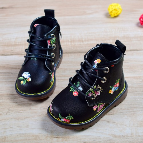New Spring Autumn Children Rubber Boots Leather Non slip Boots For Girls Waterproof