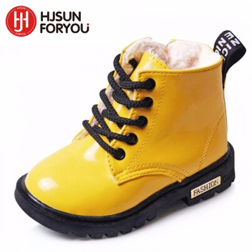 New Winter Children Shoes PU Leather Waterproof Martin Boots Kids Snow Boots Brand Girls Boys 13.55$