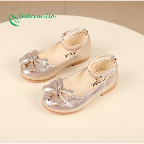 Newest Autumn Girls leather shoes Children girls baby princess bowknot sneakers pearl diamond single shoes Kids