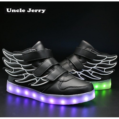 UncleJerry Kids Light up Shoes with wing Children Led Shoes Boys Girls Glowing Luminous Sneakers