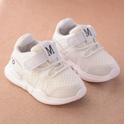 new fashionable net breathable pink leisure sports running shoes for girls white shoes 11.35$