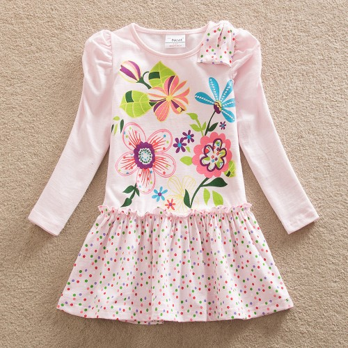 Baby Girl Long Sleeve Dress Fashion Print Pattern Cotton Dress