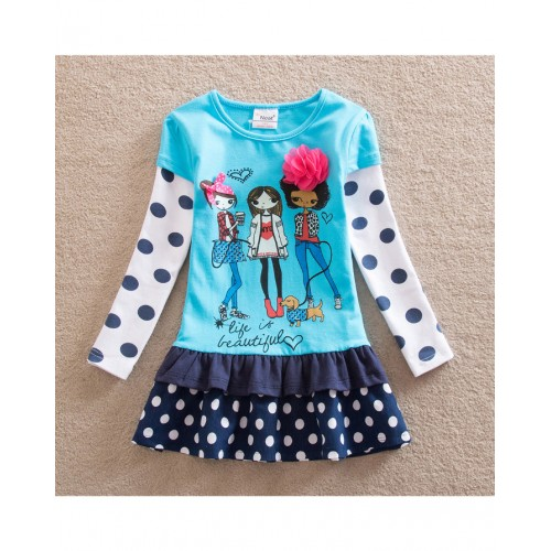 Blue Baby Girl Long Sleeve Dress Fashion Print Pattern Cotton Dress