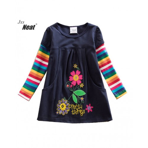 Navy Blue Baby Girl Long Sleeve Dress Fashion Print Pattern Cotton Dress