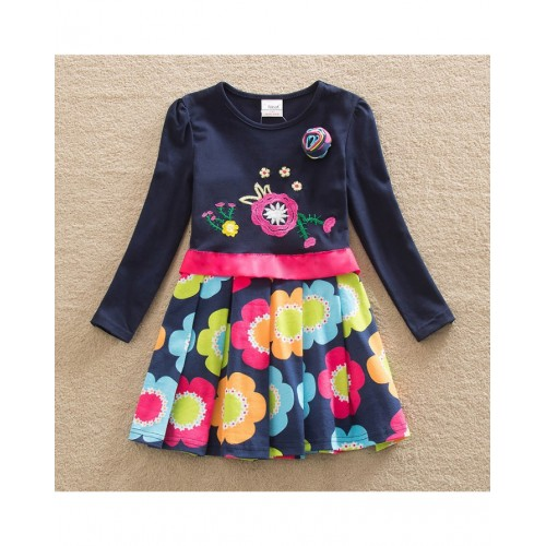 Navy Floral Baby Girl Long Sleeve Dress Fashion Print Pattern Cotton Dress