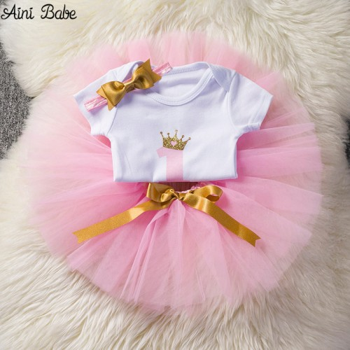 Aini Babe Baby Girl Clothes Birthday Party Dresses for 1 Year Old Infant Toddler Baby Children