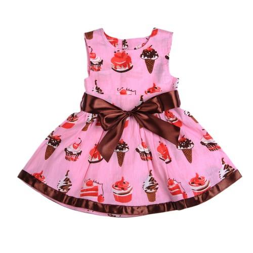 Sleeveless Cute cake ice cream belt section print baby dress 0 24 months Fashion pink soft