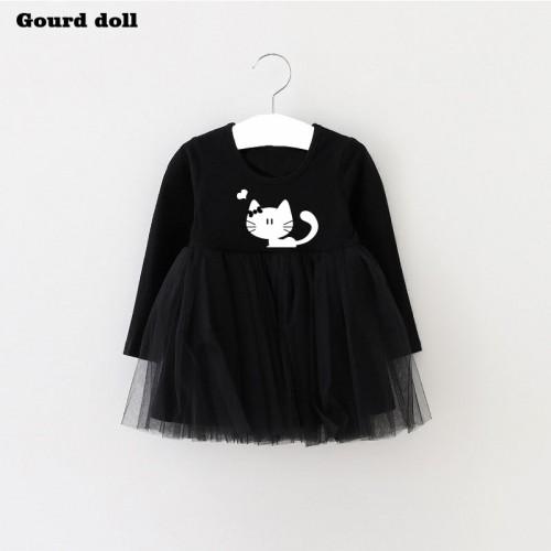 Spring Summer Cat Baby Girl Dress Lon Infant Party Dress For Toddler Girl Brithday Baptism