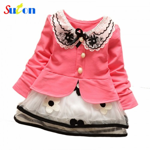 Spring and summer new baby girls t shirt dress fake two sweet and cute style