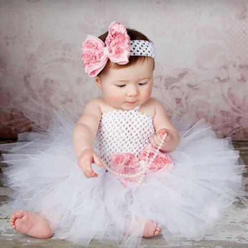 Toddler Girls Fancy Princess Tutu Dress Holiday Flower Double Layers Fluffy Baby Dress with Headband Photo