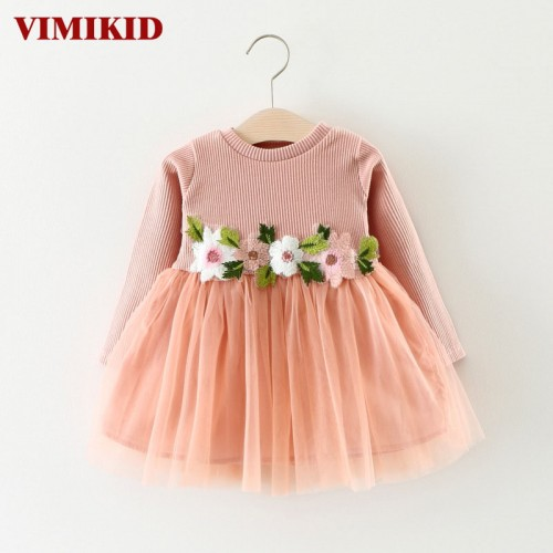 VIMIKID new Spring and Autumn dress for baby girls long sleeve Embroidery Flowers Mesh tutu