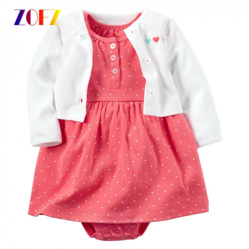 ZOFZ New baby Girl Dress Regular O Neck 2pcs Dresses for Girls Cotton Floral Dresses with
