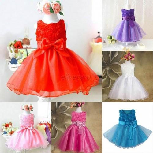 Baby Girl Princess Flower Bow Dress