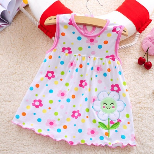 Pink Flower New Fashion Toddle Baby Girls Beach Style Floral Print Party Princess Dress