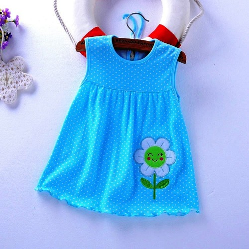 Blue Dots Printed New Fashion Toddle Baby Girls Beach Style Party Princess Dress