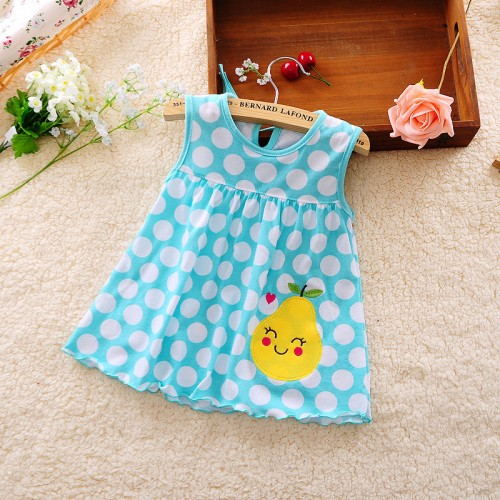 Blue Polka New Fashion Toddle Baby Girls Beach Style Floral Print Party Princess Dress