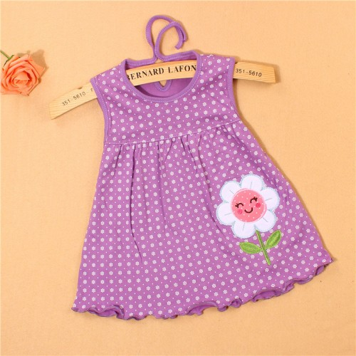 Lavender New Fashion Toddle Baby Girls Beach Style Floral Print Party Princess Dress