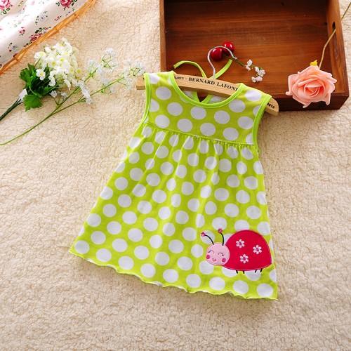 Lemon Green New Fashion Toddle Baby Girls Beach Style Floral Print Party Princess Dress