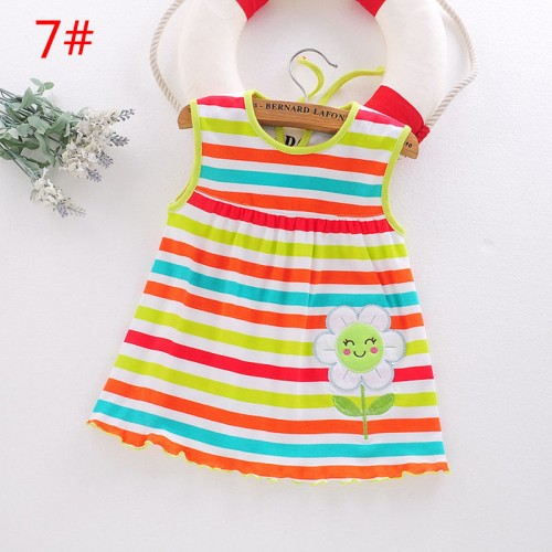 Multicolor Lining Fashion Toddle Baby Girls Beach Style Floral Print Party Princess Dress
