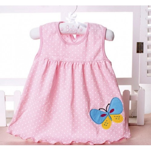 Pink Dots New Fashion Toddle Baby Girls Beach Style Printed Party Princess Dress
