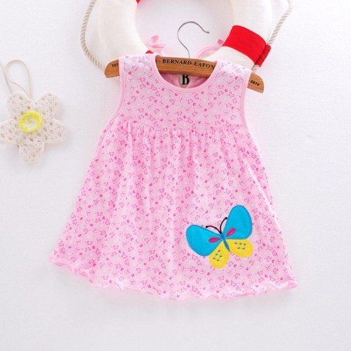 Pink Hearts Fashion Toddle Baby Girls Beach Style Floral Print Party Princess Dress