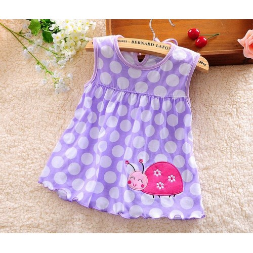 Purple Polka Printed New Fashion Toddle Baby Girls Beach Style Party Princess Dress