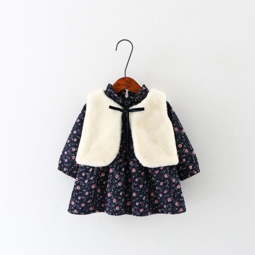 vestidos roupas de bebe Autumn Winter Baby Girls Floral Print Long Sleeve Princess Tutu Kids Party