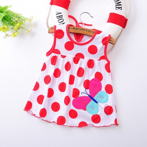 White Polka Fashion Toddle Baby Girls Beach Style Floral Print Party Princess Dress